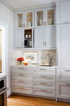 Baroque-Hidden-Gun-Cabinet-technique-Atlanta-Transitional-Kitchen-Decorators-with-bar-pulls-bar-sink-bridge-faucet-glass-front-cabients-gray-cabinetry-gray- ...