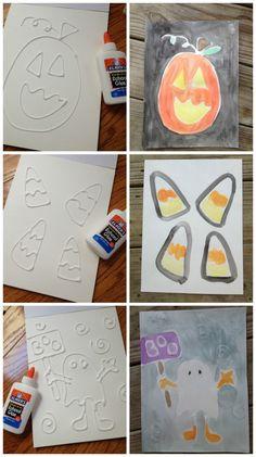 Simple, kid friendly, Halloween Glue Art