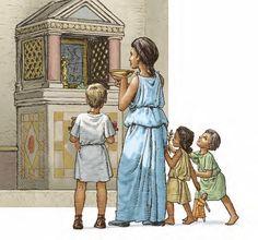 Matrona fa un'offerta ai lari, divinità protrettrici della casa
