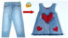 Fast conversion of old jeans into a stylish baby dress with all simplicity Sewing Summer Dresses, Simple Summer Dresses, Dress Sewing, Girls Denim Jacket, Girls Jeans, Frocks For Girls, Little Girl Dresses, Fashion Kids, Diy Shirt Printing