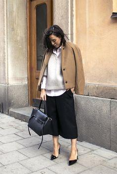 fall / winter - summer outfits - fall outfits - casual outfits - fall outfits - street style - street chic style - business casual - office wear - camel coat + grey v-neck sweatshirt + white shirt + black culottes + black stilettos + black handbag