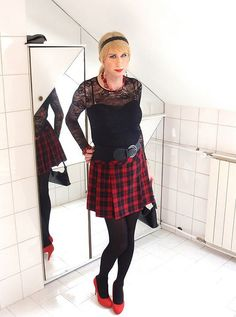 red and black plaid pleated skirt, red and black accessories by Adri Kiss on Flickr.