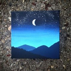 Night sky painting in acrylic. # canvas sky painting Night sky painting in acrylic. Small Canvas Paintings, Small Canvas Art, Easy Canvas Painting, Mini Canvas Art, Diy Painting, Painting & Drawing, Original Paintings, Acrylic Canvas, Easy Paintings