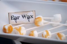 Ear Wax - Yep, I have to say this is the most GROSS Halloween food I've ever seen. Dang - I'm going to make these for my YW YM party this week. so funny. LOL - other gross Halloween food ideas at this site too. Gross Halloween Foods, Hallowen Food, Theme Halloween, Halloween Goodies, Halloween Food For Party, Holidays Halloween, Spooky Halloween, Halloween Treats, Happy Halloween