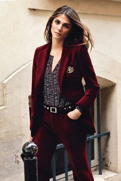 Elisa Sednaoui// velvet suit// perfect hair - not crazy about the pants, but a velvet blazer could be pretty nice