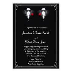Black White Elegance Gay Groom Wedding Invitation