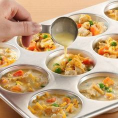 Individual Chicken Pot Pies... Could make with GF bisquick