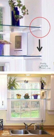 Glass shelving above the kitchen sink is a good way to get small items off the counters and keep herbs in the sunlight they need