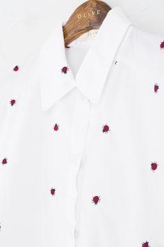 Ladybug Stitch Cropped Shirt, White