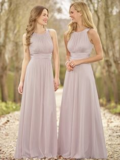 KB4611 Mr K Bridesmaid Dress - A high twist chiffon and stretch satin bridesmaid dress featuring a high round neckline, light gathering on the bust and a wide pleated satin waistband.