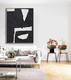 Hand Painted Vertical Abstract Art Minimalist Painting On Canvas #MN29B, Black  White Art By