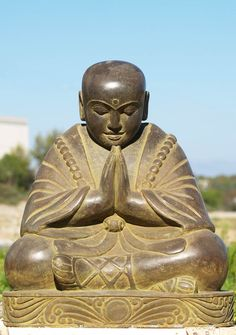 View the Stone Praying Buddha Statue 24""