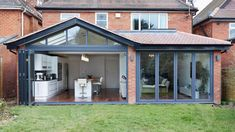 How to add a single storey extension kitchen extension with glazing from Origin Orangerie Extension, Conservatory Extension, Conservatory Kitchen, Orangery Extension Kitchen, Modern Conservatory, House Extension Plans, House Extension Design, Extension Designs, 1930s House Extension