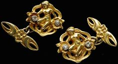 This is not contemporary - image from a gallery of vintage and/or antique objects. ART NOUVEAU    Cufflink  Gold Diamond