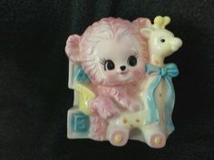 Vintage BIG EYE BEAR & GIRAFFE   BABY PLANTER  RUBENS JAPAN #3176