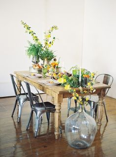 Bachant Table, Sutter Tolix Chairs and Luthey Demijohn from Found Vintage Rentals.