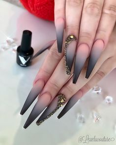 pink and black ombre nails, Hottest and trendy ombre coffin nails, natural coffin nails, coffin nail Black Ombre Nails, Nails Yellow, Gradient Nails, Galaxy Nails, Bronze Nails, Gold Nails, Stiletto Nails, Gold Glitter, Glitter Nails