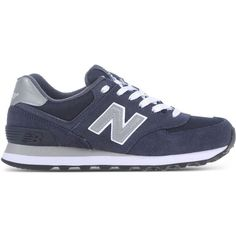 New Balance Low-Tops & Trainers (€94) ❤ liked on Polyvore featuring shoes, sneakers, zapatillas, dark blue, low profile sneakers, low top, new balance trainers, dark blue shoes and flat shoes