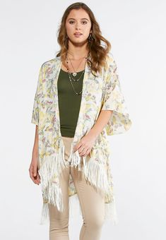 Just like the amazing transformation of a butterfly, this butterfly ruana with fringe detail will change up your look, beautifully. Layer over a simple top or solid dress for alternative style options. One size 100% polyester Hand wash Imported