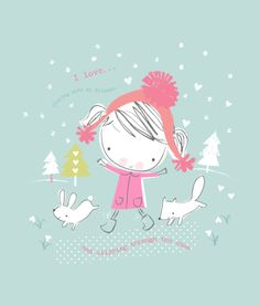 little snow girl by lizzie mackay Christmas illustration