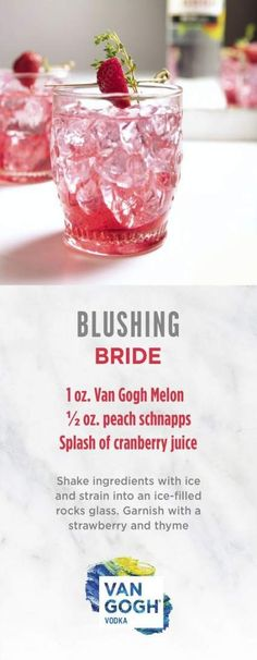Planning your wedding or hosting a bridal shower? Add this wedding-themed cocktail to your signature drink menu for an instant crowd pleaser. The Blushing Bride features our Van Gogh Melon, peach schnapps and a splash of cranberry juice for a fruity and r Peach Bridal Showers, Bridal Shower Drinks, Winter Bridal Showers, Garden Bridal Showers, Bridal Shower Brunch Menu, Tequila Sunrise, Wedding Food Menu, Wedding Themes, Wedding Dresses