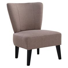 Giantex Armless Accent Chair Upholstered Seat Dining Living Room Furniture Light Brown Details Can
