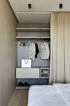 digest interior design - neutral tones, light wood, soft textiles and light. All zones are opened towards the windows to add more natural light. Wardrobe Furniture, Behance, Home Comforts, Design Consultant, Small Apartments, Interior Design Inspiration, Minimalist Design, Furniture Design, Bedroom Decor