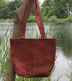 One Of A Kind Rustic Leather Tote With Range Marks Has Magnetic Clasps