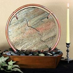 Sunnydaze Moonrise Tabletop Fountain, Copper, 18 Inch Tall