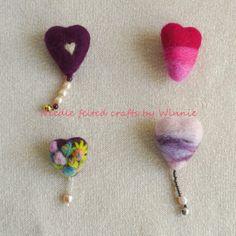 Needle felted Heart Brooch Handmade OOAKEach by FunFeltByWinnie