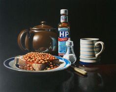 beans on toast (sold) Oil on board by Lucy Crick Hp Sauce, Beans On Toast, Dutch Golden Age, Still Life Oil Painting, Food Painting, Art Sites, Still Life Art, High Art, Food Art