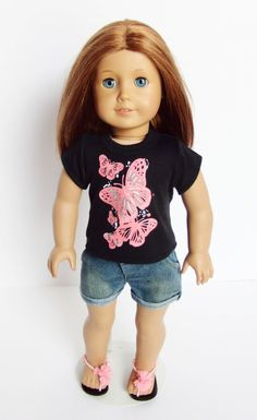 Butterfly Tee Shorts Outfit - clothes for American Girl® and other 18 inch dolls - denim shorts, chiffon flower sandals