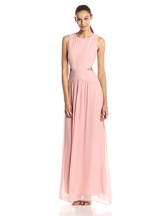 Nicole Miller Womens Sleeveless Cutout Gown Blush 12 ** For more information, visit image link.