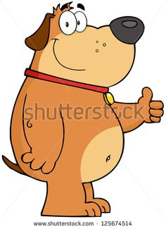 Smiling Fat Dog Showing Thumbs Up. Raster Illustration.Vector version also available in portfolio.