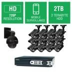 Q-SEE 16-Channel 720p 2TB Full HD Surveillance System with (12) 720p Bullet Cameras and (1) 720p Pan/Tilt Camera