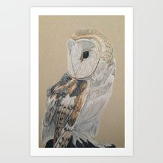 Collect your choice of gallery quality Giclée, or fine art prints custom trimmed by hand in a variety of sizes with a white border for framing.https://society6.com/product/soren-the-barn-owl_print?curator=listenleemarie