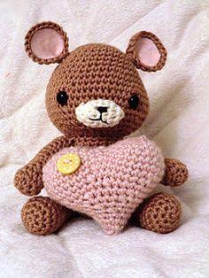Teddy with heart amigurumi PDF crochet pattern Crochet Teddy, Knit Or Crochet, Crochet For Kids, Crochet Crafts, Crochet Dolls, Yarn Crafts, Crochet Projects, Amigurumi Patterns, Crochet Patterns