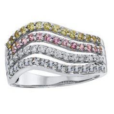 Sterling Silver Multi-Row Synthetic Birthstone Ring by ArtCarved® (4 Stone Colors) Zales