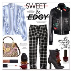 """Sweet & Edgy"" by watereverysunday ❤ liked on Polyvore featuring RED Valentino, Abercrombie & Fitch, Marco de Vincenzo, Gucci, NYX, Le Métier de Beauté, sweet, leatherjacket, edgy and ruffles"