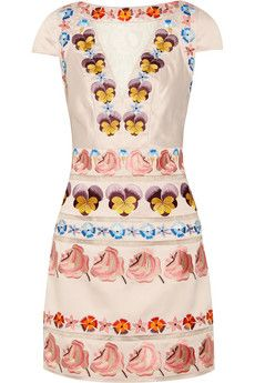 Temperley London Valencia embroidered silk-blend satin dress | THE OUTNET £402.75 Original price £895 55% off