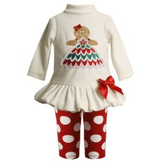 Amazon.com: Bonnie Jean Baby/NEWBORN 3M-9M 2-Piece IVORY RED 'Gingerbread Girl' BUBBLE SKIRT Special Occasion Christmas Holiday Tunic-Dress/Legging Set: Clothing