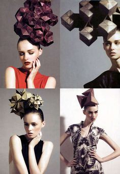 Cubed Cranium Couture Photos House of Architects Millinery are a seriously elusive design house but they produce some crazy and wonderful hat designs. These origami-inspired hats by House of Architects Millinery