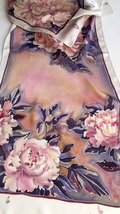 Silk scarf petals of peonies natural silk satin silk How To Wash Silk, Silk Art, Scarf Design, Fabric Painting, Dress Painting, Ribbon Embroidery, Silk Scarves, Silk Satin, Silk Dress