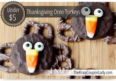 Easy Oreo Pretzel Turkeys for Thanksgiving - The Krazy Coupon Lady Thanksgiving Oreo Turkeys, Thanksgiving Desserts, Holiday Desserts, Holiday Baking, Holiday Treats, Holiday Recipes, Fall Treats, Melting Chocolate Chips, Semi Sweet Chocolate Chips