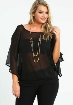 Plus Size Chiffon Blouse With Necklace - So much yes in this outfit. Revealing without being trashy. Look Plus Size, Mode Plus, Girl Fashion, Womens Fashion, Plus Size Outfits, Plus Size Fashion, Chiffon, Cute Outfits, At Least