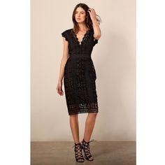Hale Bob Kisa Laced Dress (24.575 RUB) ❤ liked on Polyvore featuring dresses, black, midi, lace cocktail dress, holiday cocktail dresses, lace party dresses, cocktail dresses and lace evening dresses