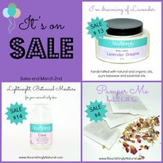 On SALE this week -  {Lavender Dreams} body lotion, handcrafted with natural and organic oils, essential oils and pure, protective beeswax. {Clear} lime geranium facial moisturizer, made with organic oils and natural botanicals. {Pamper Me} herbal bath tea, made with a blend of pampering and relaxing flowers, herbs, and citrus.