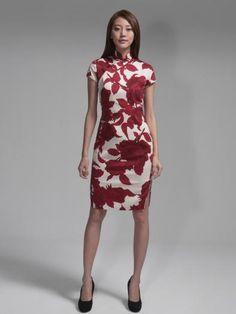 'Rose' print cotton blend Qipao By Shanghai Tang