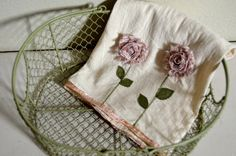"""Hand made """"Shabby Blooms"""" tea towel with hand dyed cabbage ribbon edge. Kitchen Towels, Cool Kitchens, Tea Towels, Fabric Crafts, Cabbage, Shabby, Bloom, Ribbon, Unique Jewelry"""