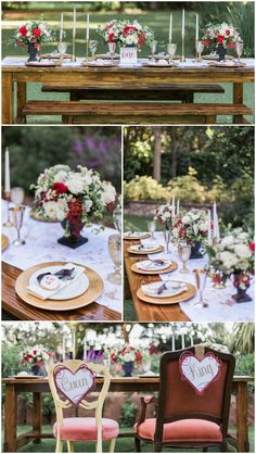 """Romantic outdoor wedding reception, red and white floral centerpieces, wooden tables, """"eat me"""" cookie wedding favors, heart-shaped Queen and King chair decor signs, gold plates, white candles // Holly Castillo Photography"""